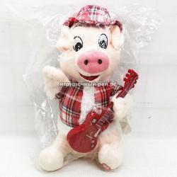 """Мягкая игрушка """"Поросёнок с гитарой"""" (музыкальный) 3880"""