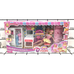 Кукла с набором мебели 68018
