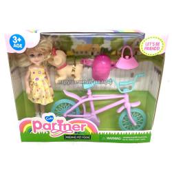 Кукла на велосипеде с щенком TQ001F