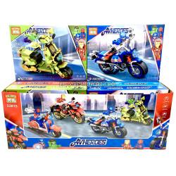 Конструкторы Супер-герои на мотоциклах (Heima, ~197 дет) бокс из 8 шт 53015